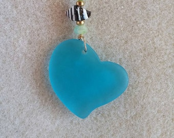 Heavenly Blue Sea Glass Heart Pendant with Ball Chain