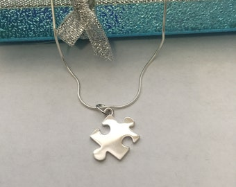 """Jigsaw Puzzle """"15""""  Sterling Silver Necklace"""