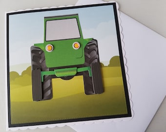 Green tractor back view handmade greeting card (Ready to be personalised)