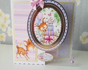 Birthday, especially for you, handmade greeting card - presents, deer, rabbit, butterfly