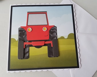 8x8 inch Red back view tractor - handmade card (ready to be personalised)