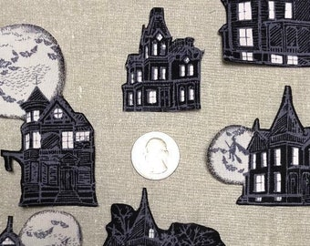 Halloween Gothic Crafts Embroidered Iron On Patch Haunted House