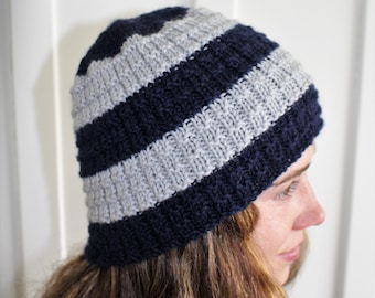 Navy & Grey Knitted Hat
