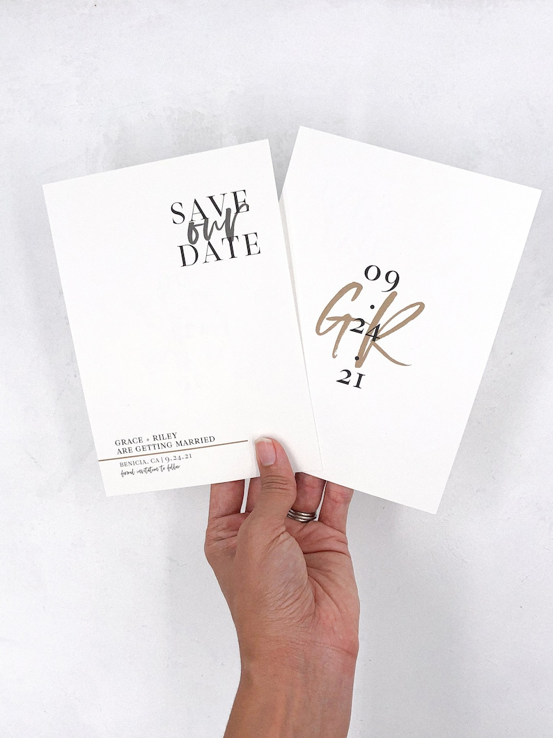 save our date cards masculine save the dates minimalist black and tan save the dates