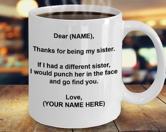 Dear Sister Mug Gift Coffee Personalized Custom Made Birthday For