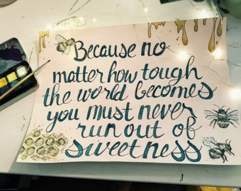Bees & Honey Quote Wall Art