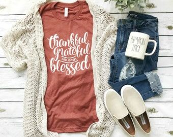 68a8e6ba7 Fall Shirts | Thankful grateful blessed shirt | Fall tshirts | Fall shirt  women | Graphic tee | Thanksgiving shirt | Cute Fall Shirts