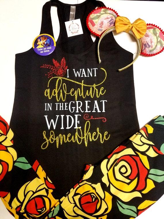 I Want Adventure Beauty And The Beast Disney Shirts Disney Etsy