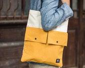 Canvas Leather Strap Tote Bag