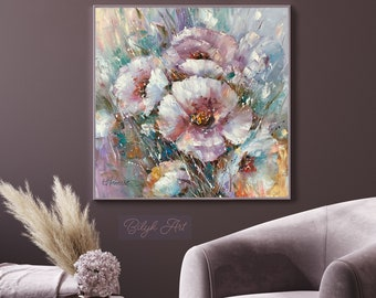 Luxury Painting Original Fine Art Extra Large Artwork 40x40 Abstract Art Modern Home Decor Gift for Girlfriend Pink And Turquoise Art 30x30
