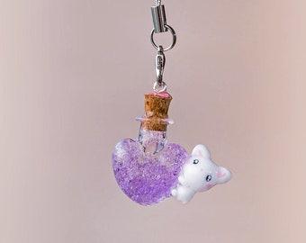 Kawaii Bunny Elixir Angel || Bunny Bottle Necklace || Kawaii Fairykei Necklace || Progress Keeper || Bunny Stitch Marker