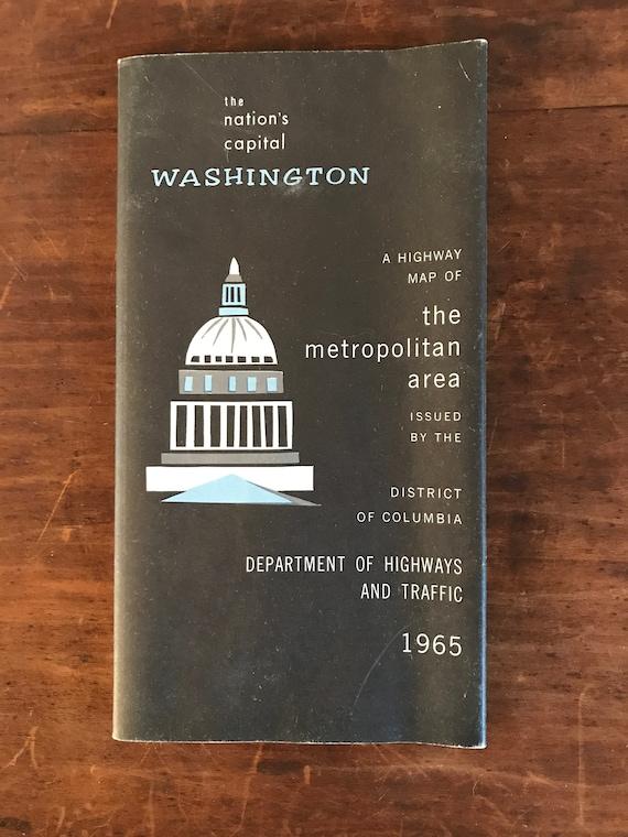 Dc Metro Traffic Map.1965 Map Of Washington Dc Mid Century Modern Vintage Map Of Etsy