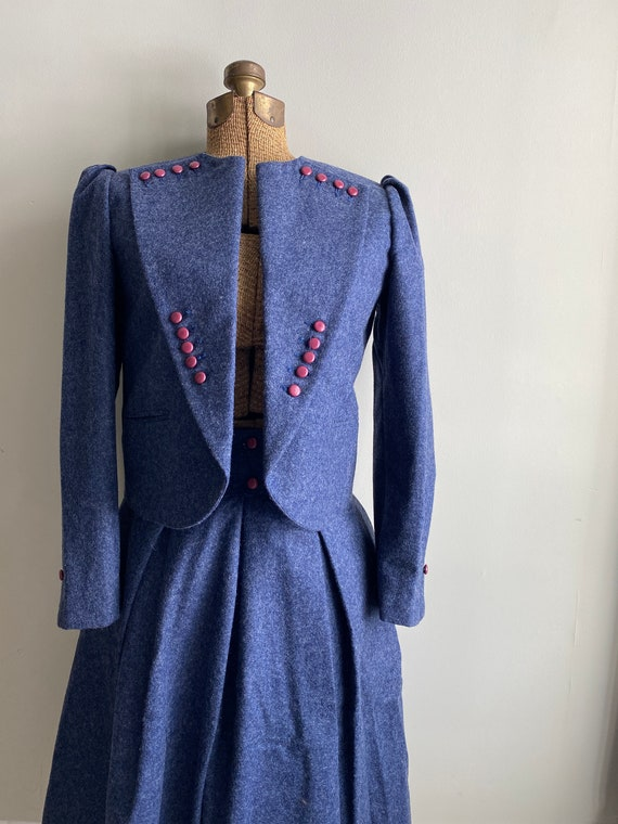 Vintage 1940s Victory Suit - Chinese Blue Wool Lin
