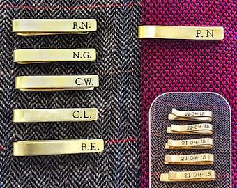 Hand Stamped Tie Clip Bar // customisable // groomsmen gift // initials // groom // best man // wedding // gift for him // baptism gift //