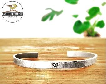 Dainty Heart Hand Stamped Bracelet  silver aluminium   customisable  bridesmaid gift  wedding  cute love heart  skinny cuff