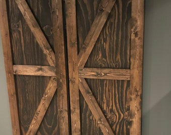 Double Sliding Barn Door. Real wood, Includes 2 doors, handmade. Includes wheels, track, and mounting hardware.