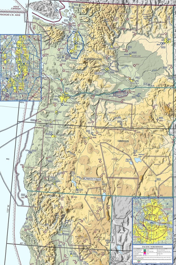 PACIFIC NORTHWEST Pilot Gift, Aviation Art, Aviation Map, Live Weather,  METARmaps, Aviation Weather Map