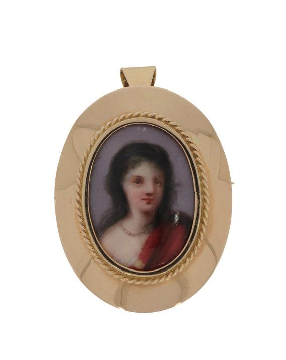 14 carat golden pendant brooche with porcelain por