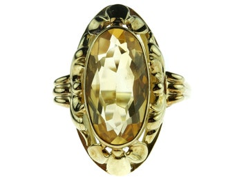 Large 14k yellow gold women's ring with Citrine in machined setting-size 18.75