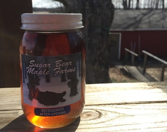 Sugar Bear Maple Farms Pint jars, 100% Pure Michigan maple syrup. Zero additives, No smokey flavor- LPG syrup.