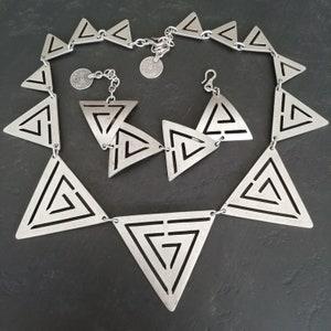 80s MODERNIST Scandi designer Jewelry Set matching Minimalist Pewter signed 80s Scandi Mod Necklace and Bracelet