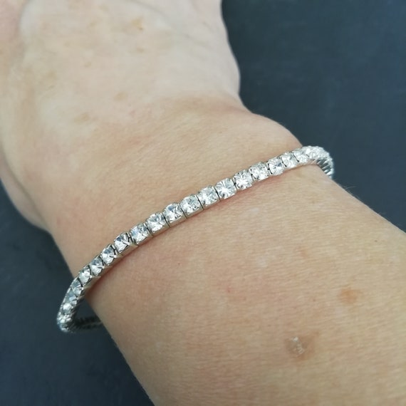 Dainty clear crystal bracelet vintage wedding jewelry for brides layered rhinestone bracelet