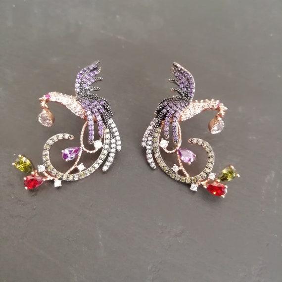 Vintage Dainty 80s rhinestone bird earrings, RETR… - image 2