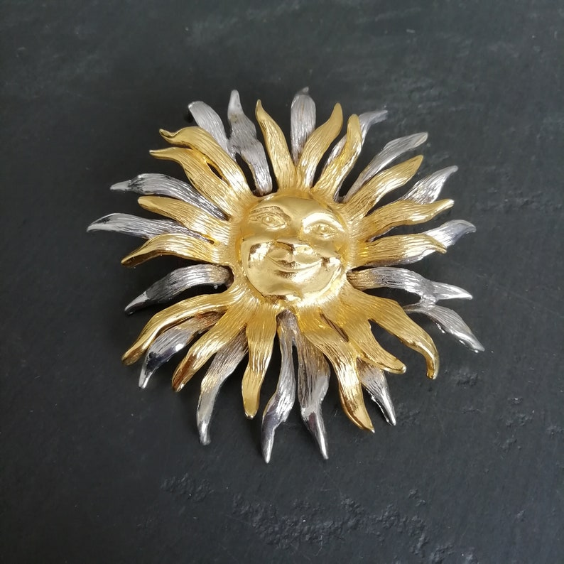 VINTAGE Celestial SUN pin Rare Gold and Silver Sun Brooch Astrological Jewellery Huge JJ pewter brooch Statement Pin Gift for Her