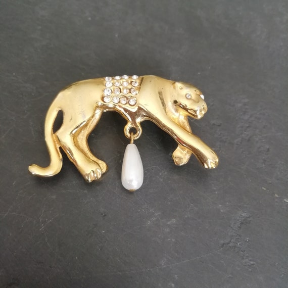 80s Panther Jewellery, Vintage Panther Brooch, Pan