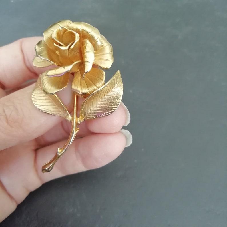 signed designer rosebud vintage pin 60s gold ROSE pin 1960s metal Cerrito ROSE lapel pin rose jewellery
