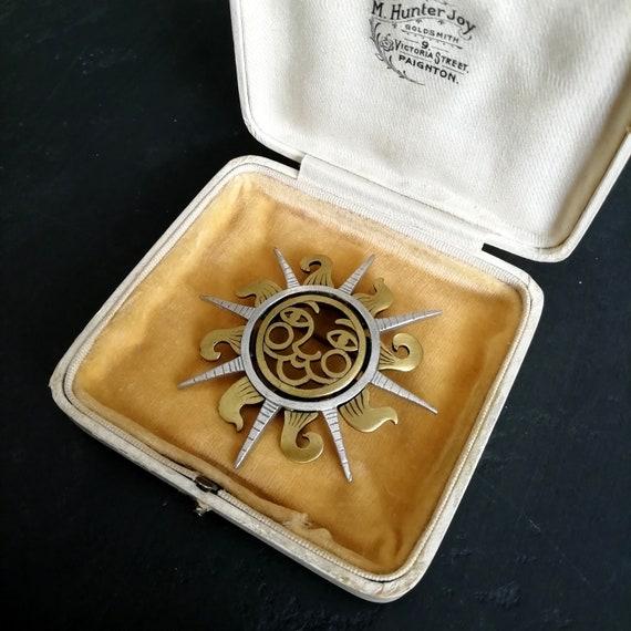 Vintage Charm Pendant Smiling Sun Celestial Zodiac Astrology Astonomy Sterling Silver Unisex Gift