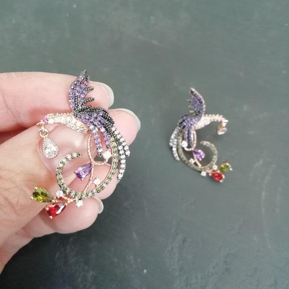Vintage Dainty 80s rhinestone bird earrings, RETR… - image 4