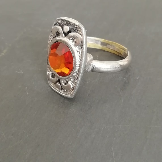1960s orange faceted glass and silver plated ring size 6 Small vintage ring UK Size L12 rectangle adjustable dress ring U.S