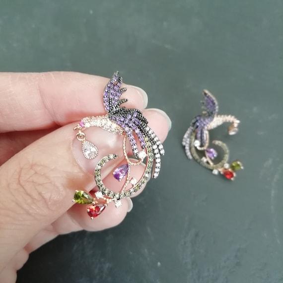 Vintage Dainty 80s rhinestone bird earrings, RETR… - image 5