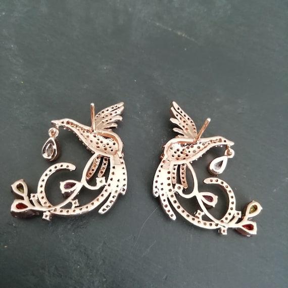 Vintage Dainty 80s rhinestone bird earrings, RETR… - image 7