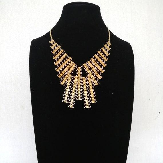 Vintage Egyptian Revival Gold Choker NECKLACE, Chu