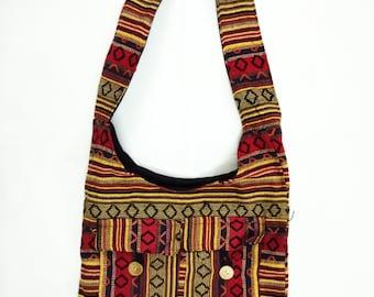 9723d95ce8aa Bohemian bag  Boho hippie bag  Crossbody bag  Cotton bag  Travel bag  Beach  bag  College bag  Hobo sling bag  Shoulder bag  Jhola bag