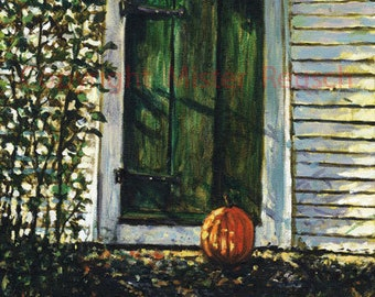 Autumn Farmhouse Door at John Greenleaf Whittier Birthplace Signed Print by Mark Reusch