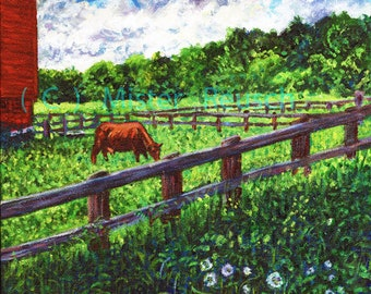 Cow Grazing in Summer Pasture at John Greenleaf Whittier Birthplace Signed Print by Mark Reusch