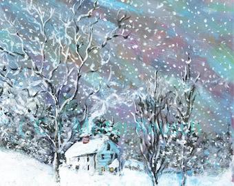 John Greenleaf Whittier Birthplace Winter Snow-Bound Signed Print by Mark Reusch