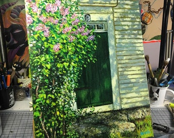 Spring Lilacs by John Greenleaf Whittier Farmhouse Door Acrylic Painting on Canvas by Mark Reusch