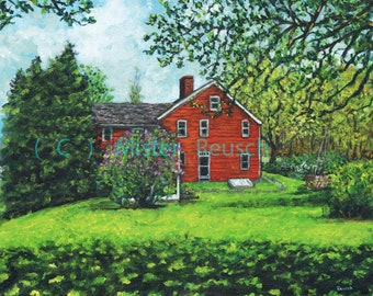 Lilac Bush and John Greenleaf Whittier Birthplace Signed Print by Mister Reusch