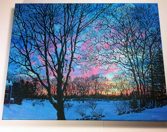 Winter Sunset at John Greenleaf Whittier Birthplace Original Painting by Mark Reusch