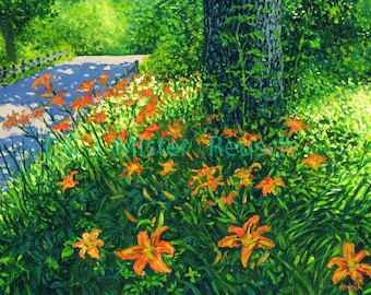 Day Lillies in Summer at John Greenleaf Whittier Birthplace Signed Print by Mark Reusch