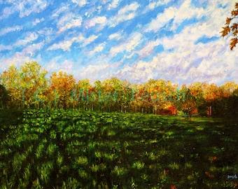 Autumn Shadows at John Greenleaf Whittier Birthplace Signed Print by Mark Reusch