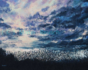 Dusk Over Summer Fields at John Greenleaf Whittier Birthplace Signed Print by Mark Reusch