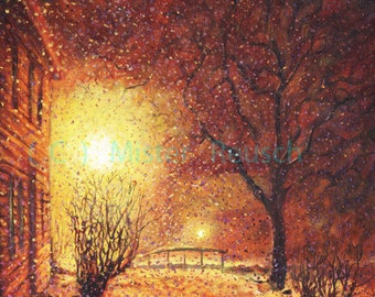 Winter Snowstorm at John Greenleaf Whittier Birthplace Signed Print by Mark Reusch