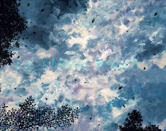 Stormy Autumn Sky at John Greenleaf Whittier Birthplace Signed Art Print by Mark Reusch