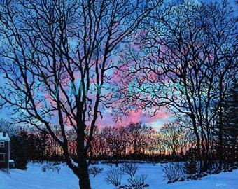 Winter Sunset at John Greenleaf Whittier's Birthplace signed print by Mark Reusch