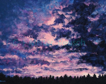 Pink Sunset at John Greenleaf Whittier Birthplace Signed Print by Mark Reusch